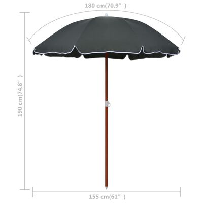 """vidaXL Parasol with Steel Pole 70.9"""" Anthracite"""