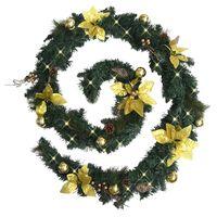 vidaXL Christmas Garland with LED Lights Green 8.9' PVC