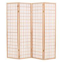 "vidaXL Folding 4-Panel Room Divider Japanese Style 63""x66.9"" Natural"