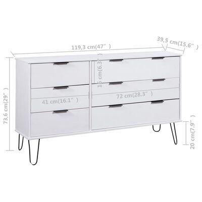 "vidaXL Drawer Cabinet White 47""x15.6""x29"" Solid Pine Wood"