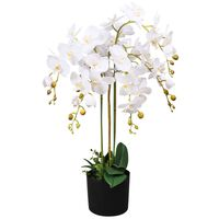 """vidaXL Artificial Orchid Plant with Pot 29.5"""" White"""