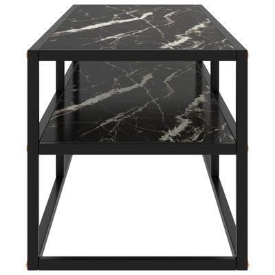 "vidaXL TV Cabinet Black with Black Marble Glass 47.2""x15.7""x15.7"""