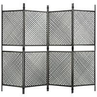 "vidaXL 4-Panel Room Divider Poly Rattan Anthracite 94.5""x78.7"""