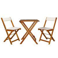 vidaXL 3 Piece Folding Bistro Set with Cushions Solid Acacia Wood