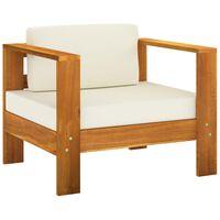 vidaXL Garden Chair with Cushion Cream Solid Acacia Wood