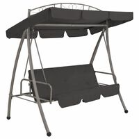 """vidaXL Outdoor Convertible Swing Bench with Canopy Anthracite 78""""x47.2""""x80.7"""" Steel"""