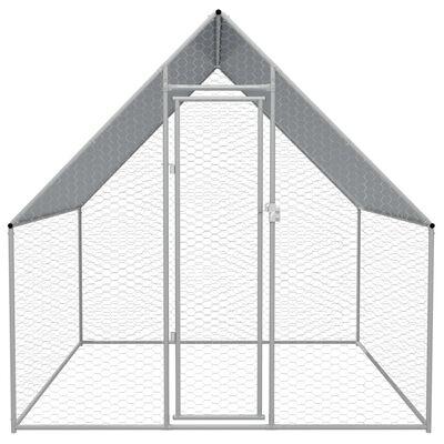 """vidaXL Outdoor Chicken Cage Galvanized Steel 6'6""""x6'6""""x6'3"""""""