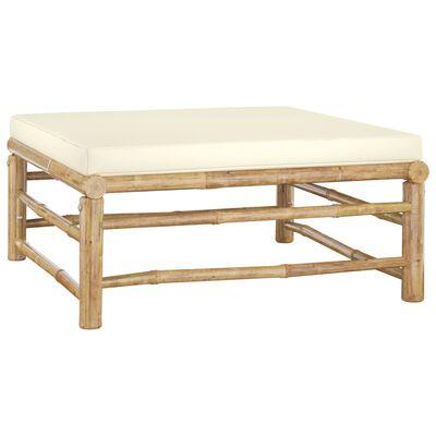 vidaXL Garden Footrest with Cream White Cushion Bamboo